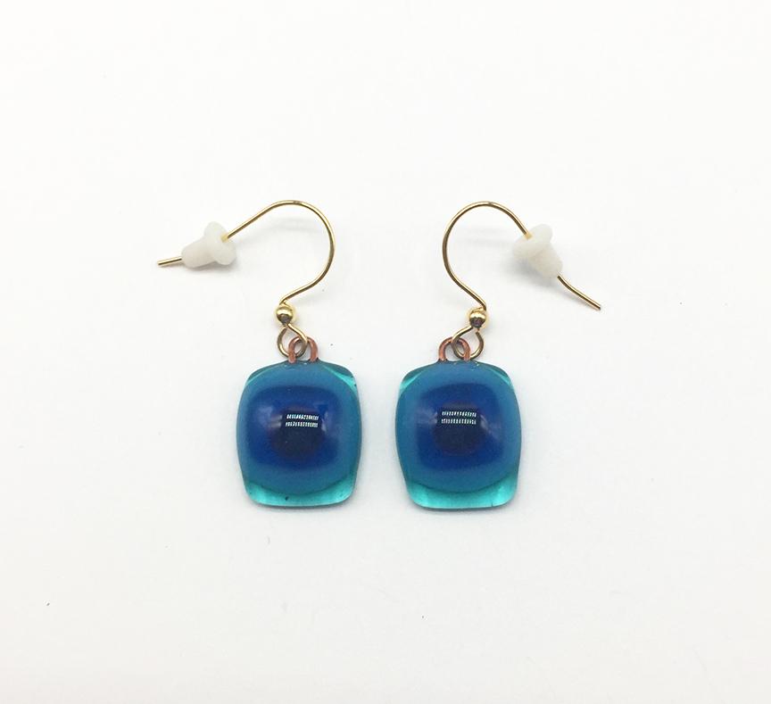 Bitty Earrings Fused Glass  Teal/Blue