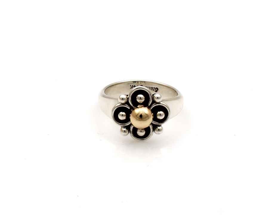Two Tone Clover Ring by  Artie Yellowhorse - Masterpiece Online