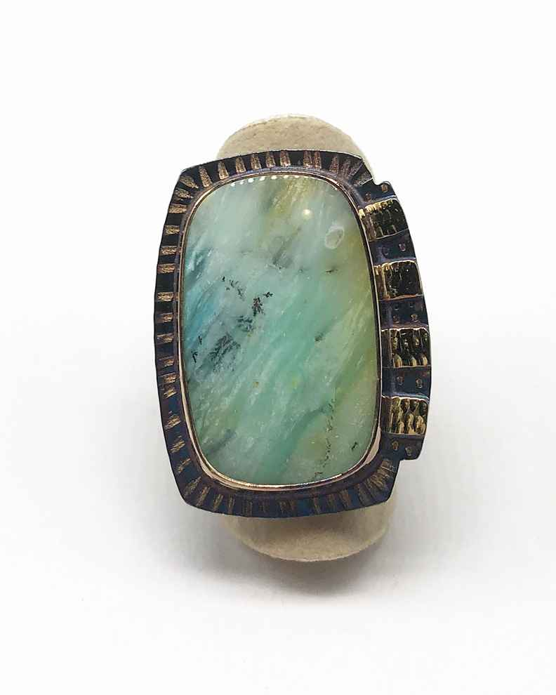 Sterling, 22k, Blue Opal Displaced Petrified Wood Ring - Size 7 1/2