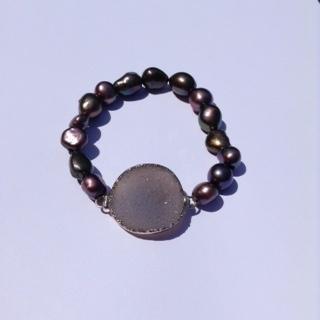 Druzy Bracelet with Grey Tones