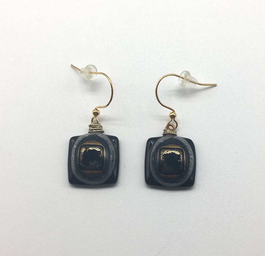 Metallic Square Fused Glass Earrings