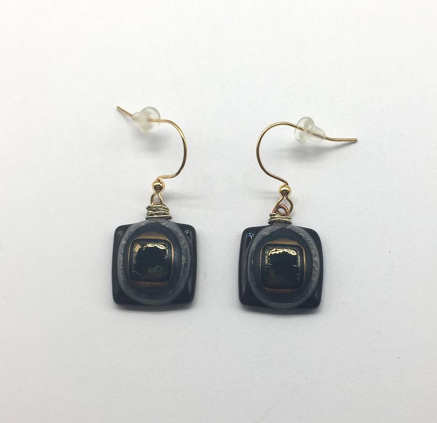 Metallic Square Fused Glass Earrings