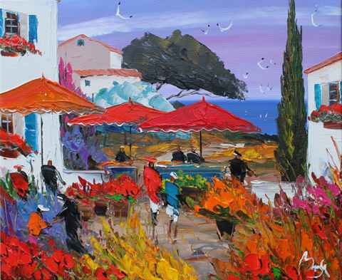 Near the Umbrellas by  Louis  Magre - Masterpiece Online