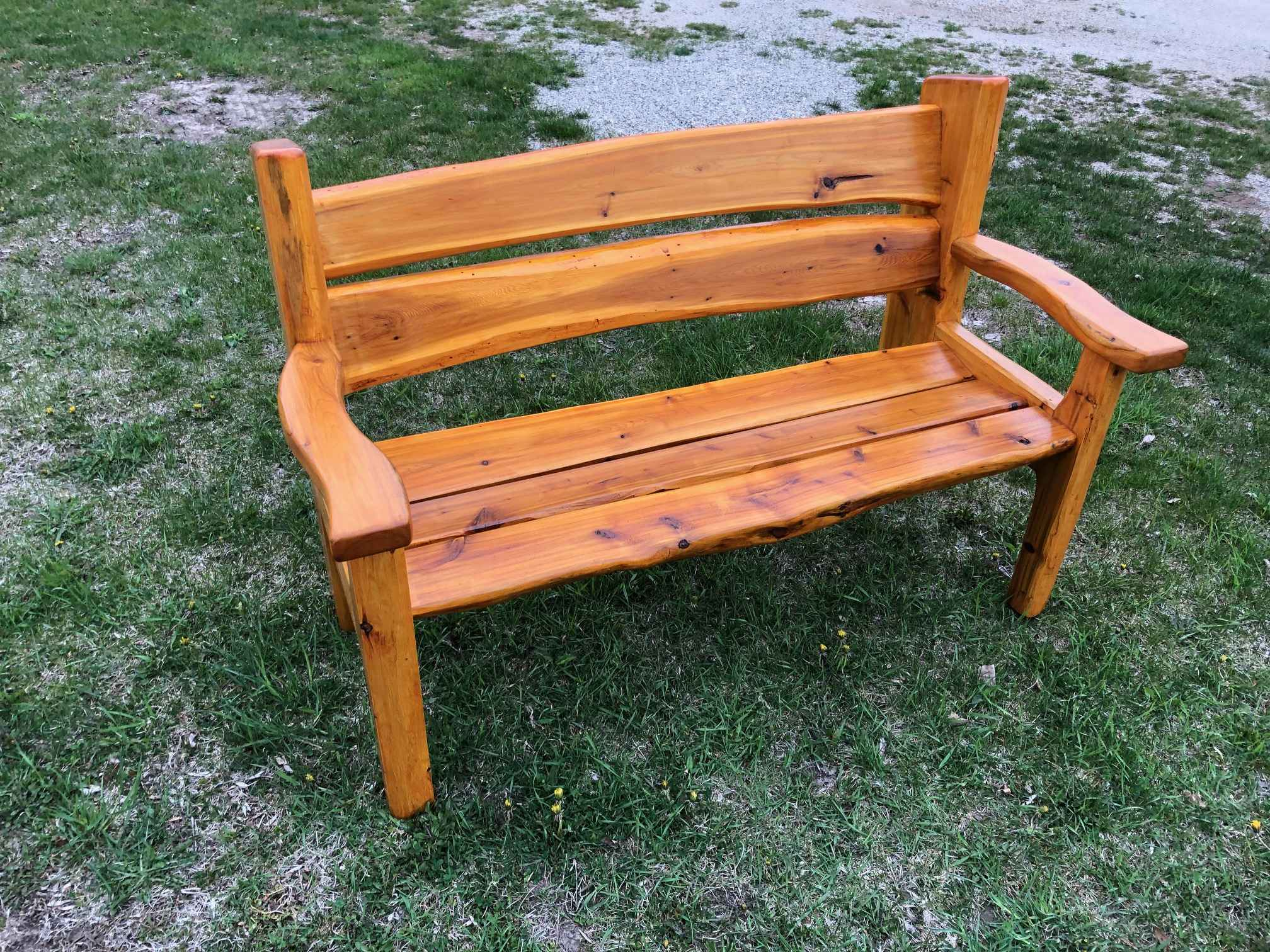 Garden Bench with Arm Rests, 4' Long