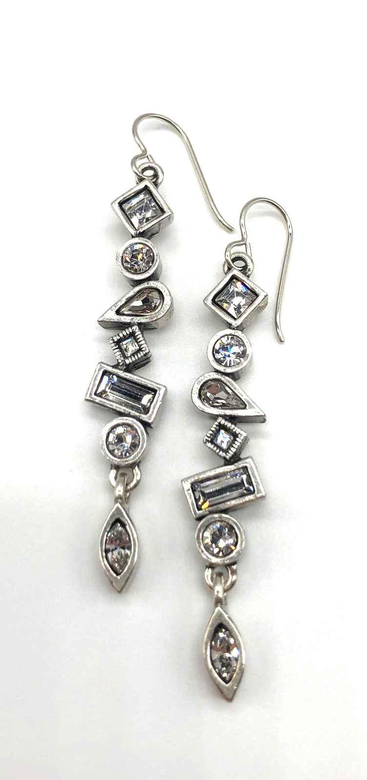 Oblique Earrings in Silver, All Crystal