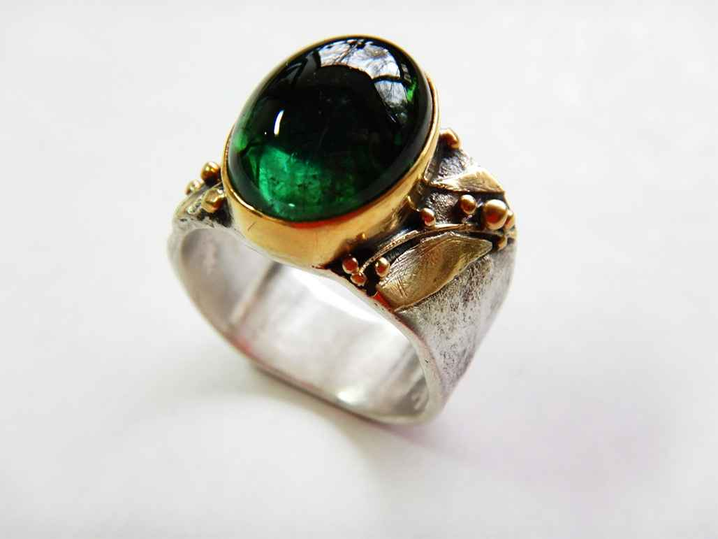 Sterling, 22k Gold and 8 ct Botany Green Tourmaline Ring, Size 8 1/2