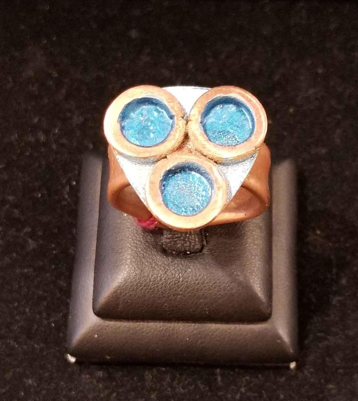 Ring - Copper w/3 Blu... by  Aziah Poimandres - Masterpiece Online