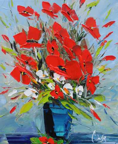 Blue Vase, Red Poppies