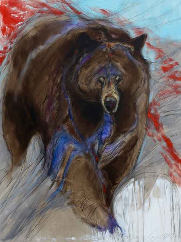 Black Bear In Turquoi...  by  Amy Lay