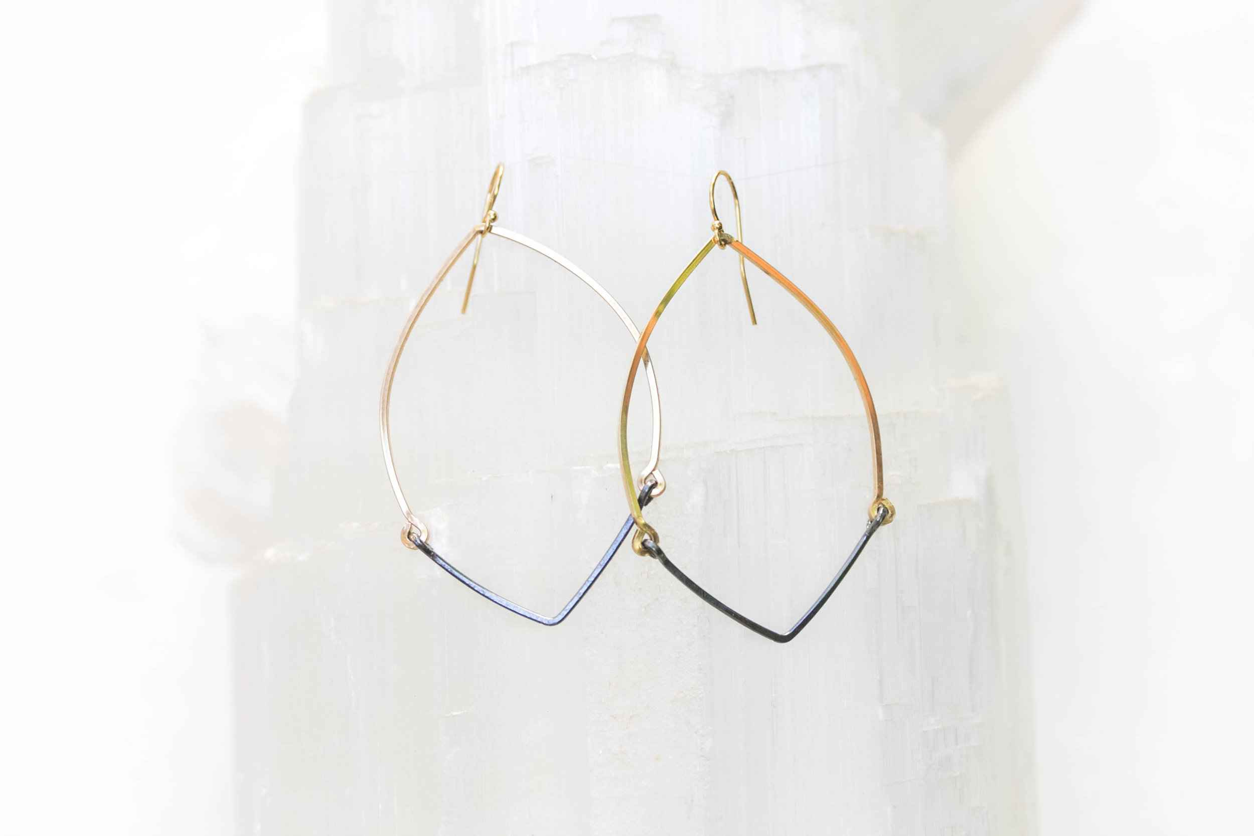 14K Gold Filled with Oxidized Sterling V Bar Tapered Hoop Earring