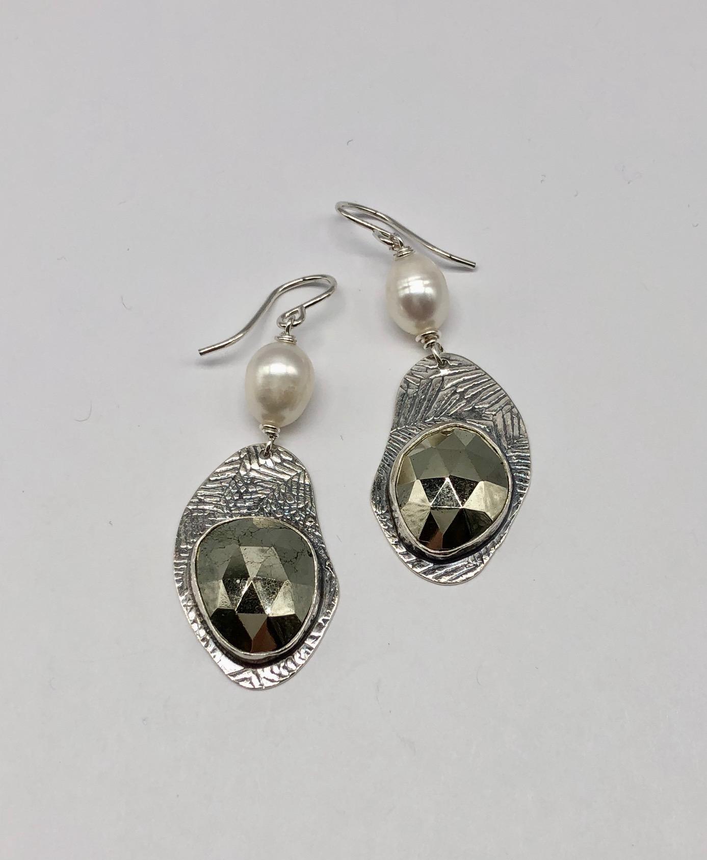Sterling, Pyrite and Fresh Water Pearl Earrings