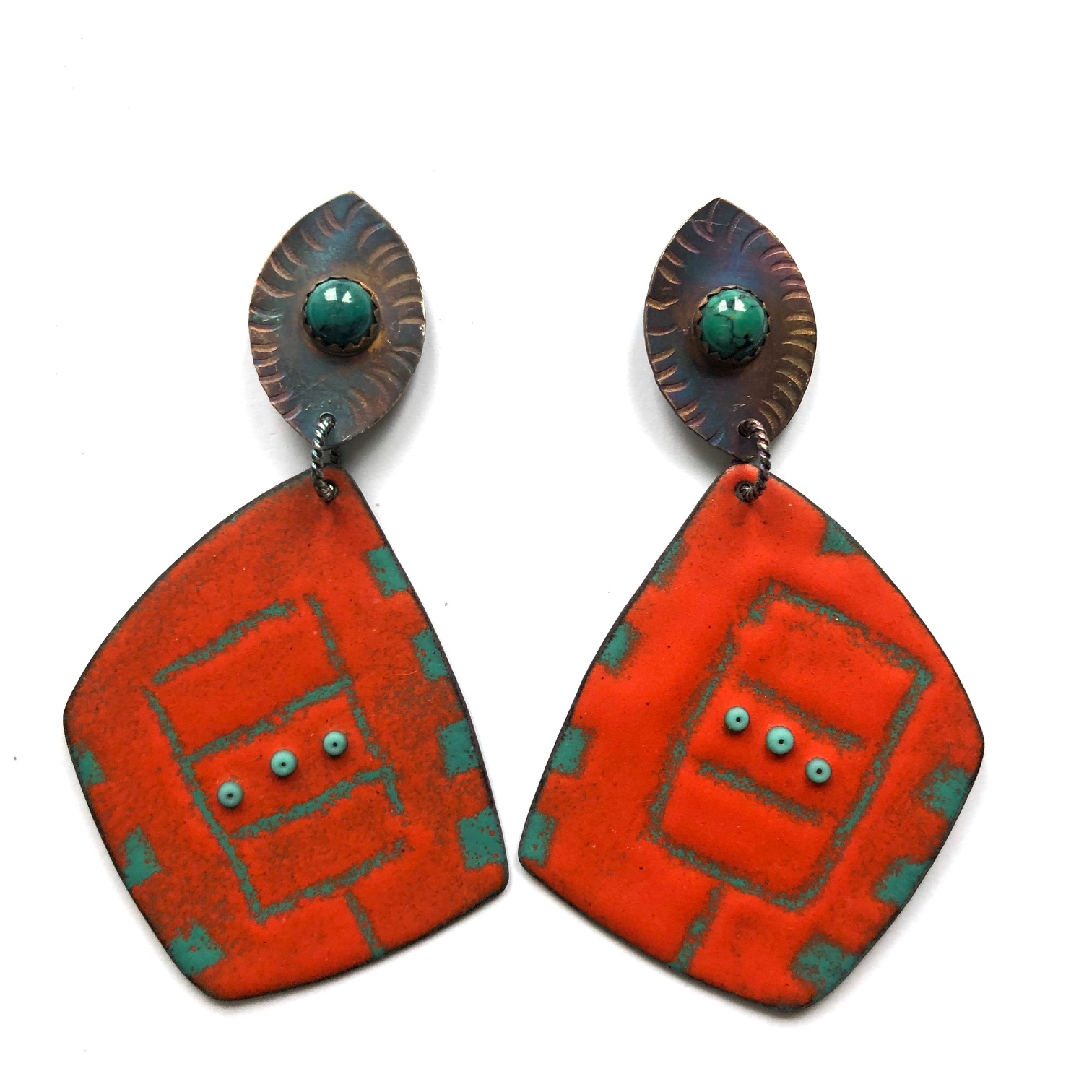 Sterling Silver & Enamel Earrings, Red & Green
