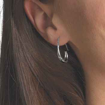 Duo's Hoop Earring Sterling & 14k gold over Silver