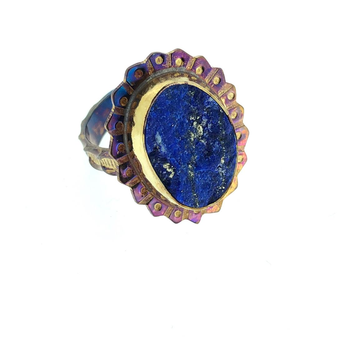 Lapis with Pyrite Ring, size 6 1/2