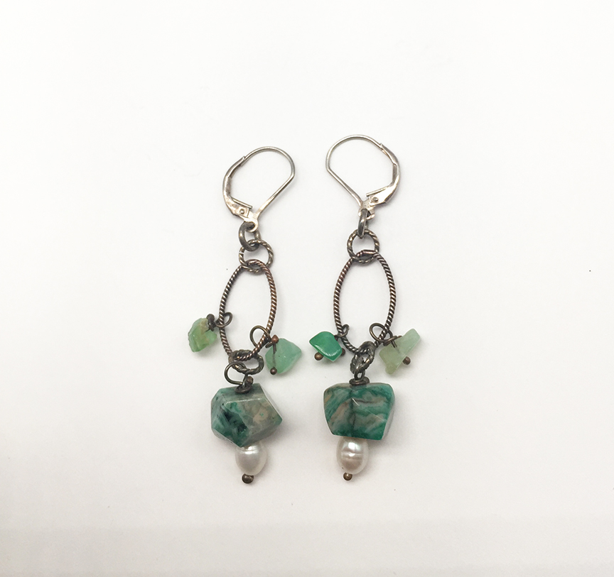 Oval, Green and Pearl Drop Earrings