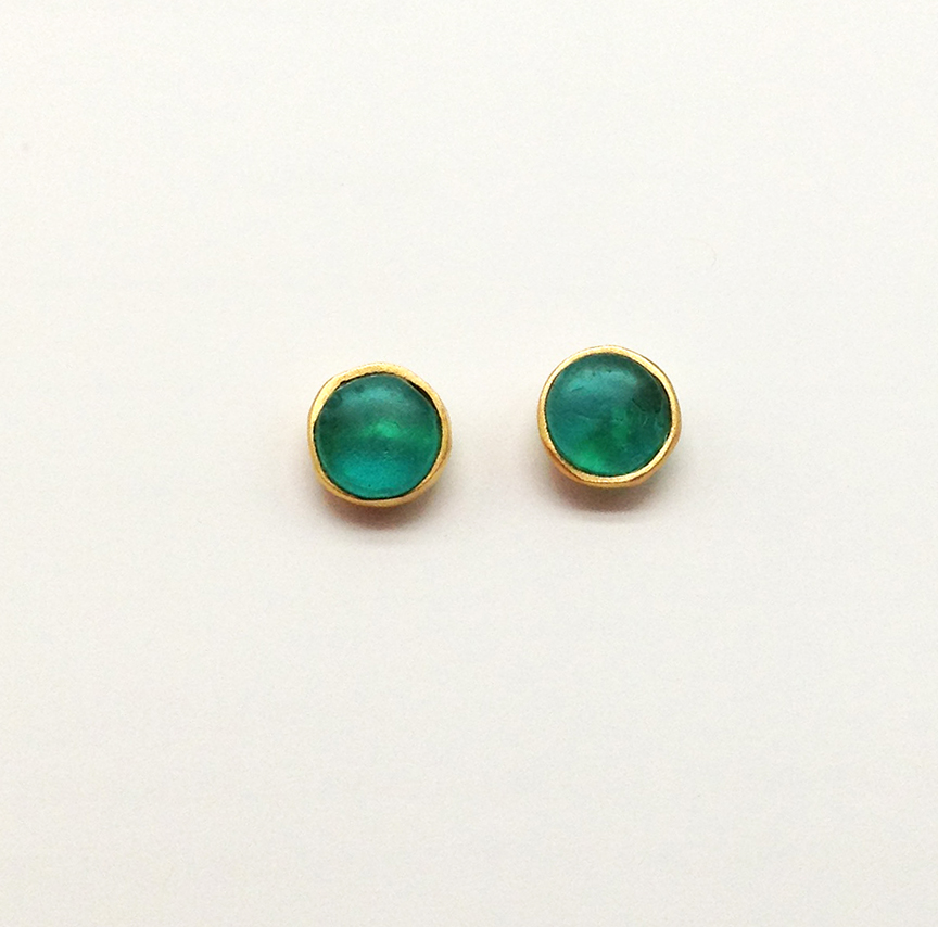 Bubble Post Earrings in Teal