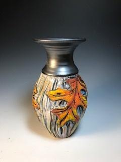 Orange Oak Vase with Black Top