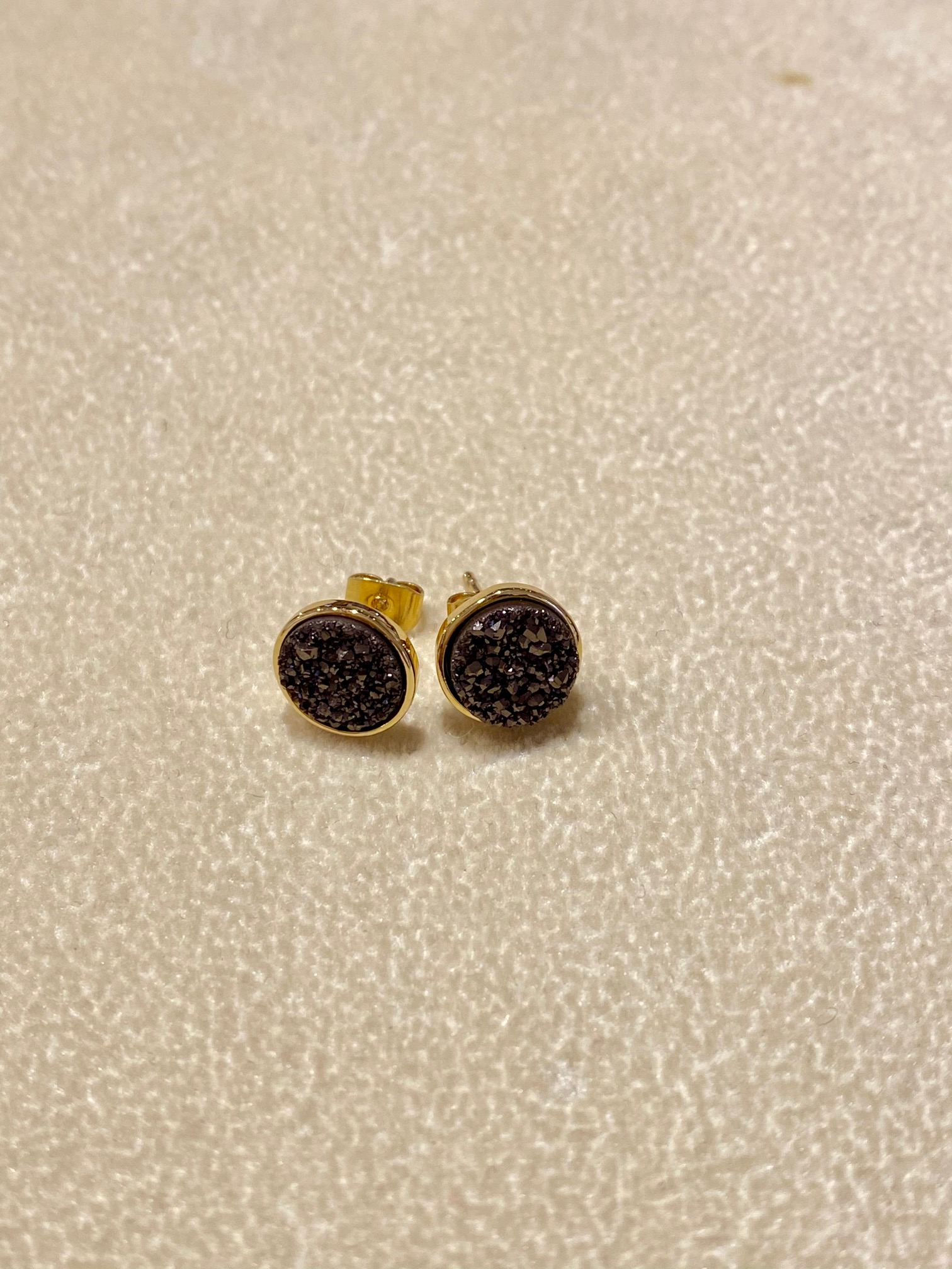 Coffee Brown Druzy set in Gold Earrings, 8mm