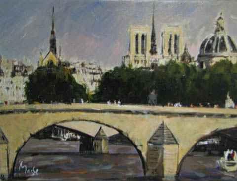 Bridge on the Seine by  Louis  Magre - Masterpiece Online
