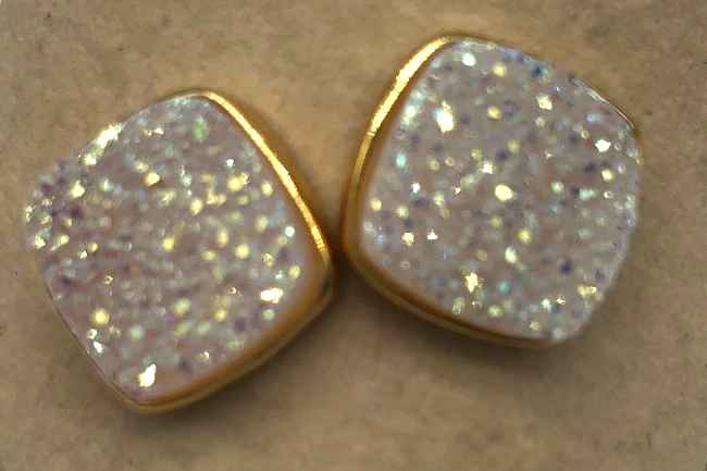 10mm Square White Druzy set in Gold Earrings