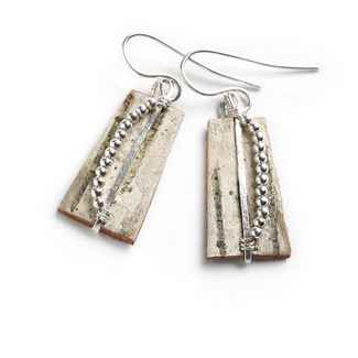 Classic Earrings Birch Bark and Sterling, 1 1/8