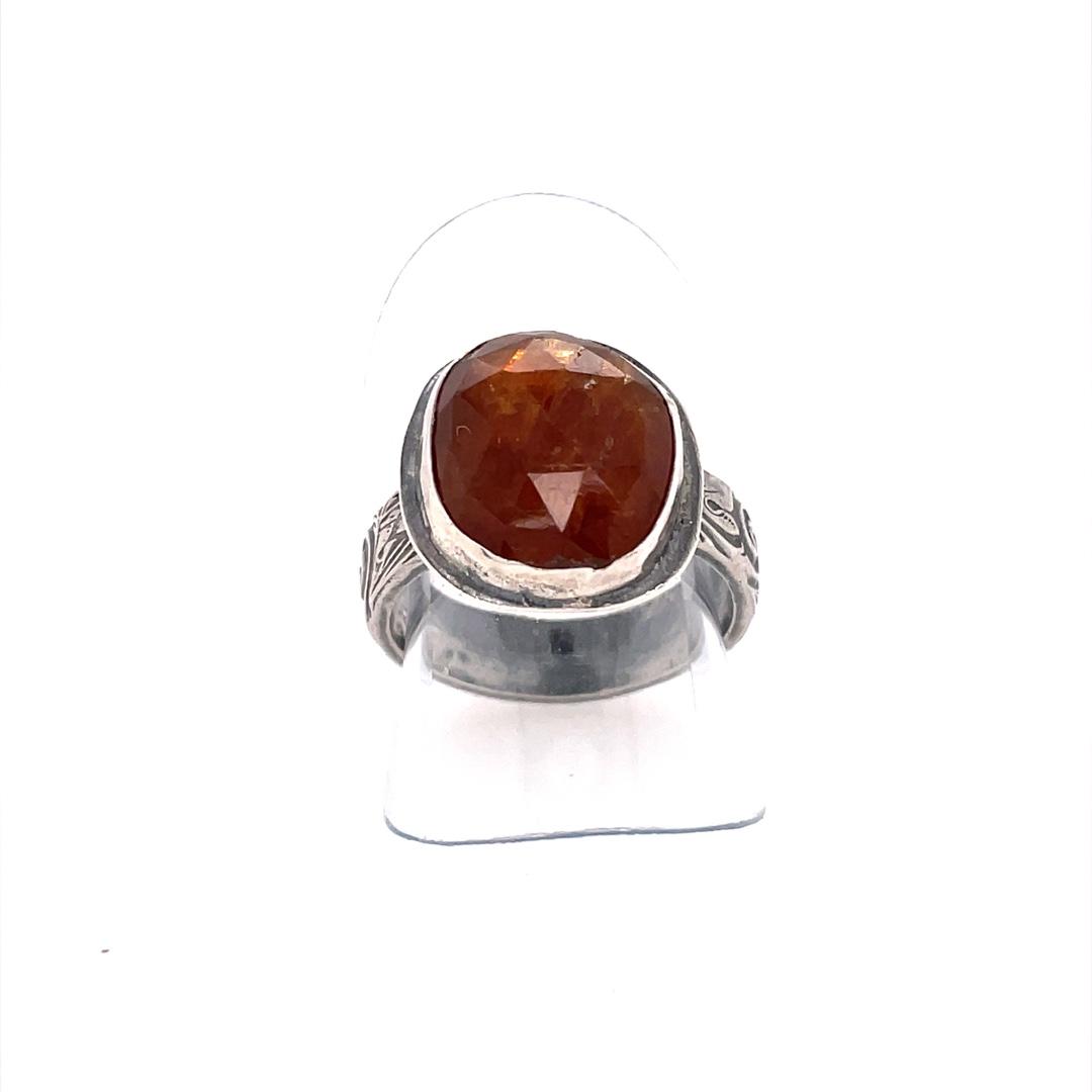 Grossular Garnet Ring with Pattern Shank, Size 6.5
