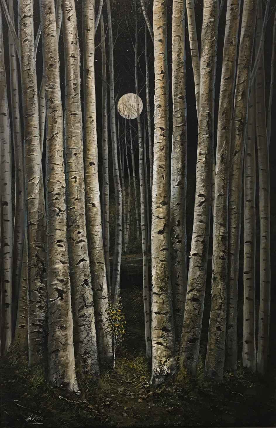 Moonlit Birches by  Henry Lobo - Masterpiece Online
