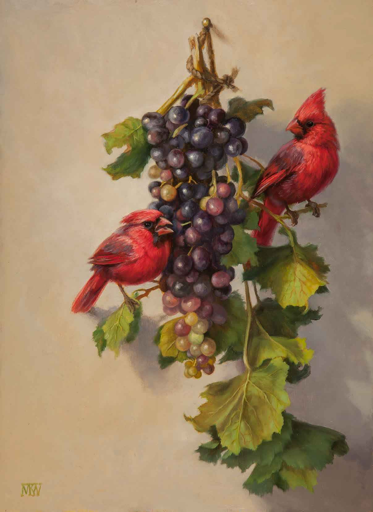 Cardinals and Grapes represented by  by  Mary Kay  West