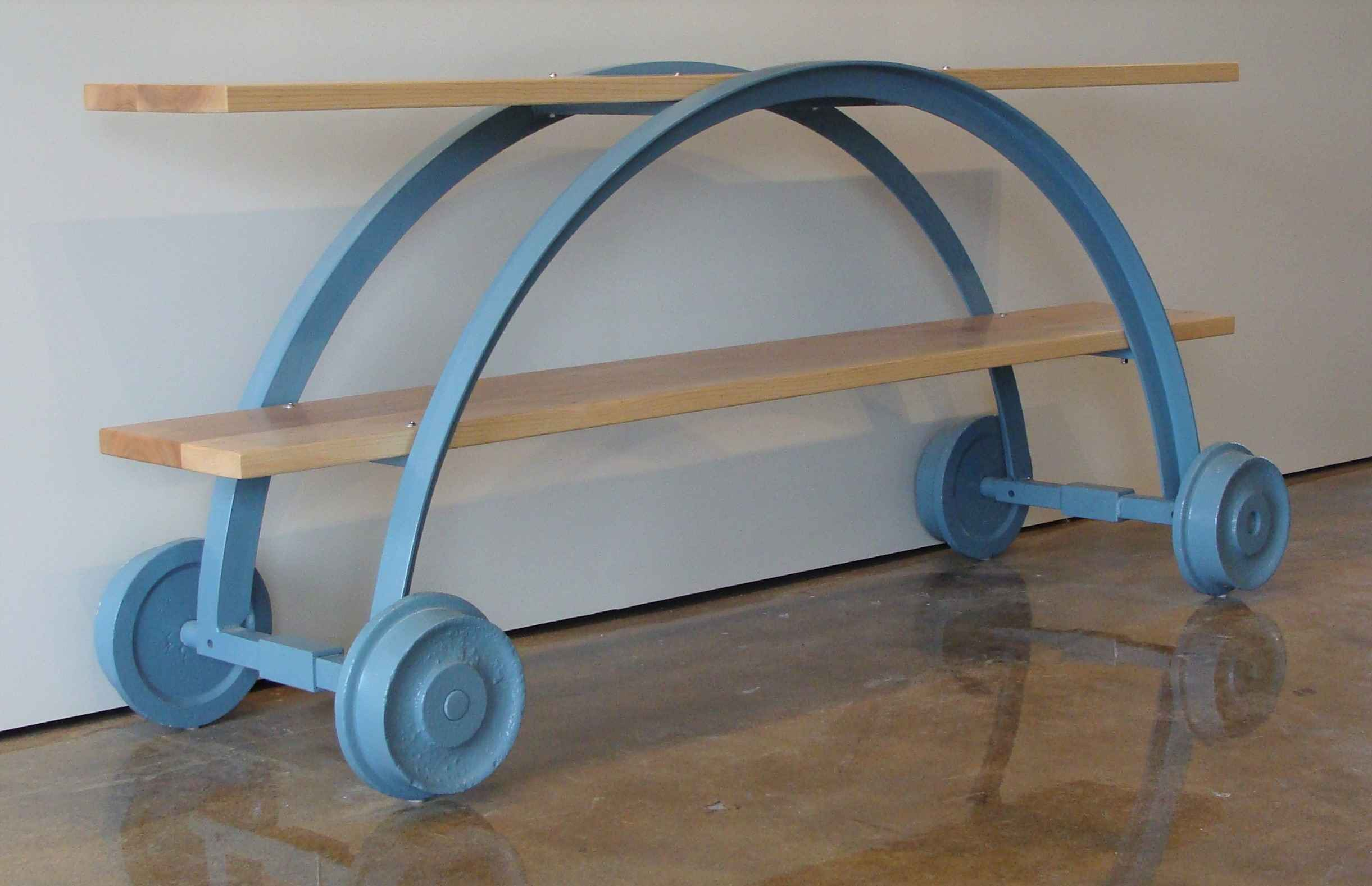 Two Tier Teal Cart Ta... by Mr. Nathan Hatch - Masterpiece Online