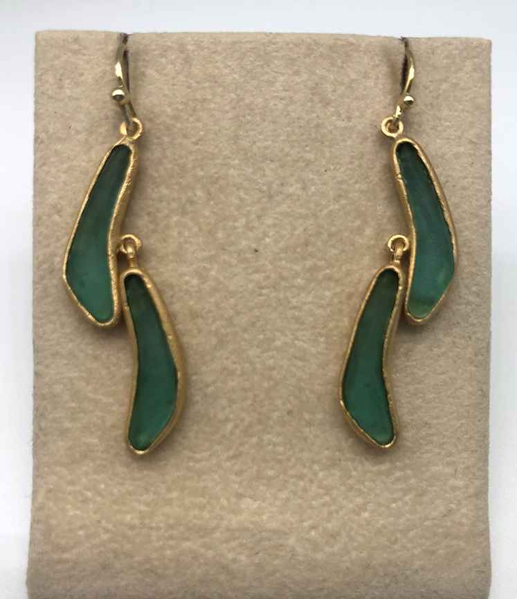 Wave Double Drop Wire Earrings 1 3/4