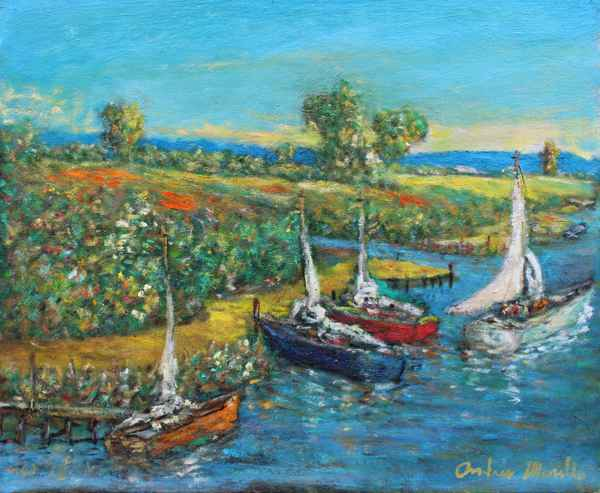 Boat Leaving by  Andres  Morillo - Masterpiece Online