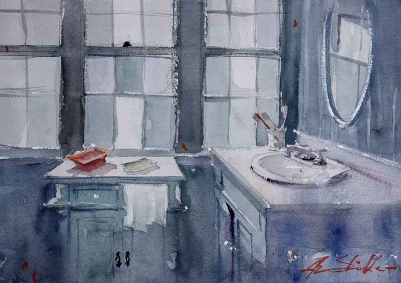 The Blue Bathroom  by  Ron Stocke