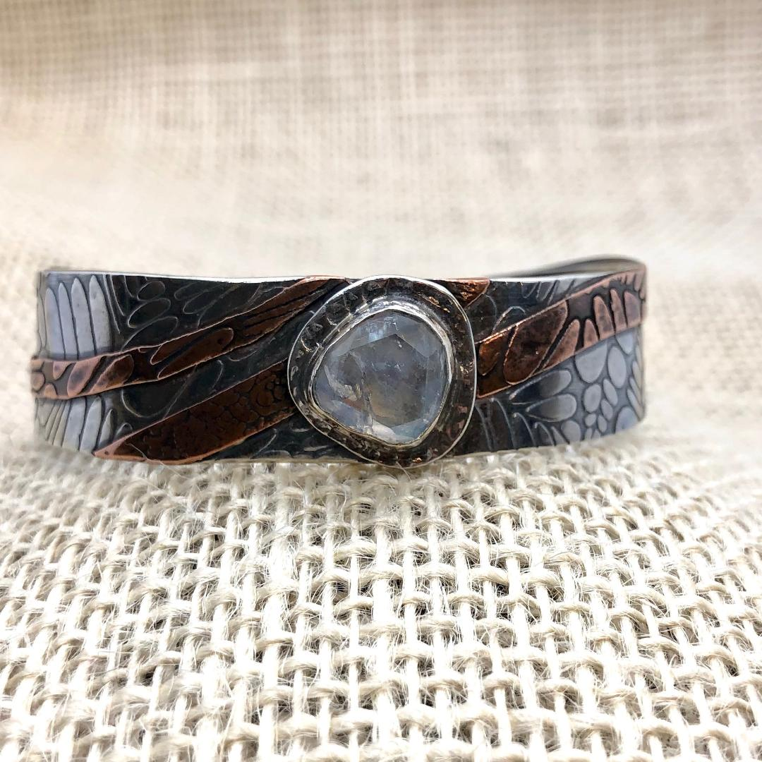 Faceted Moonstone in Sterling Silver and Copper - Cuff Collection