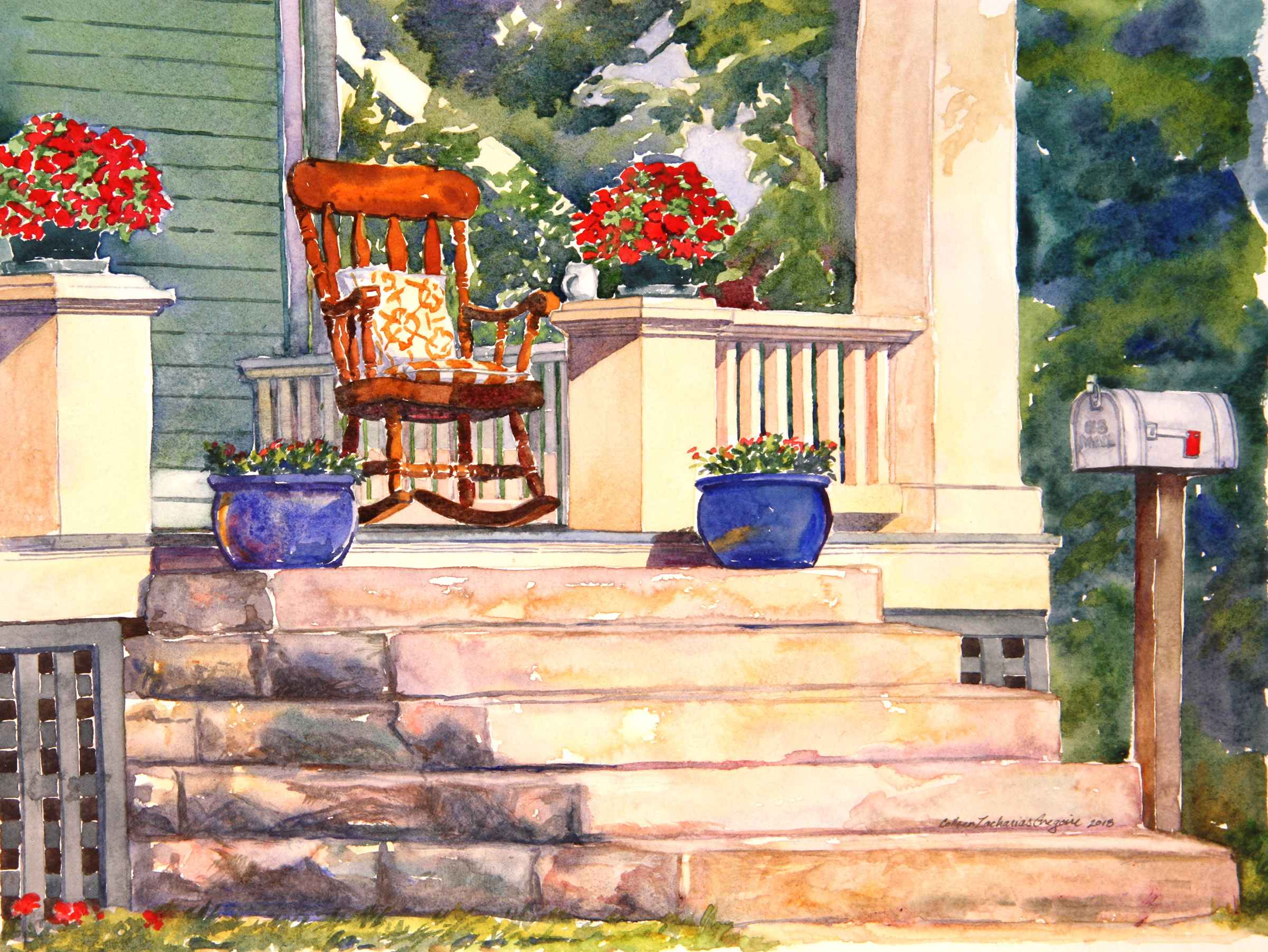 Blue Pots with Rockin...  by  Colleen Gregoire