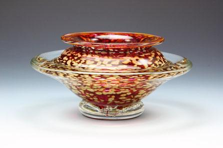 Large Ikebana Bowl in Transparent Ruby