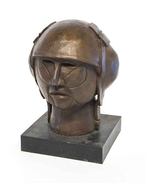 Head With WWI Aviator...  by  Helen Post