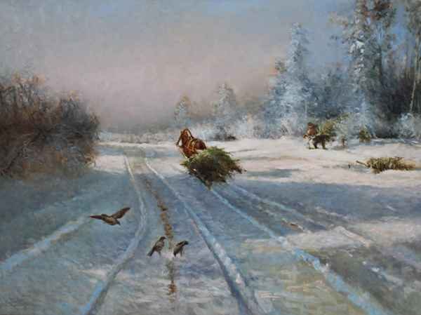 Winter Scene by  Vladimir  Nasonov  - Masterpiece Online