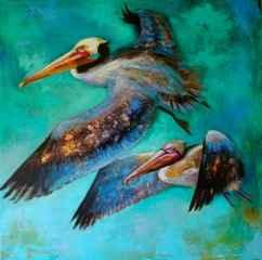 Pelicans In Flight by  Naydene Gonnella - Masterpiece Online