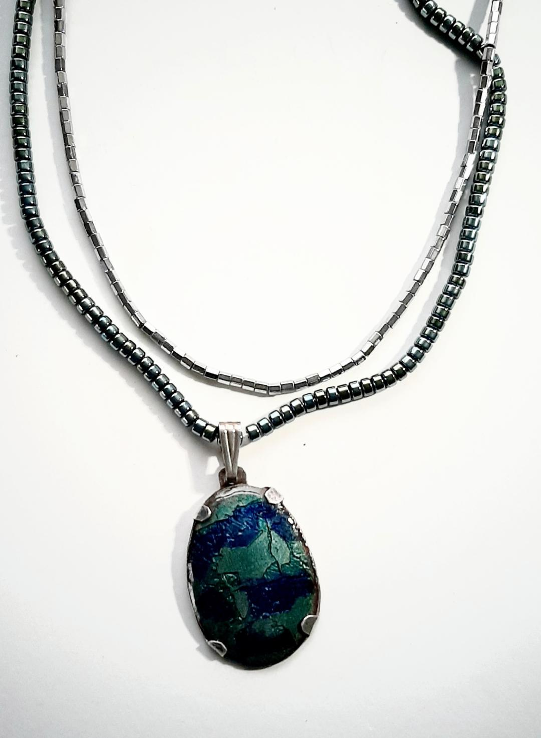 Blue Turquoise Pendant with Basse-taille