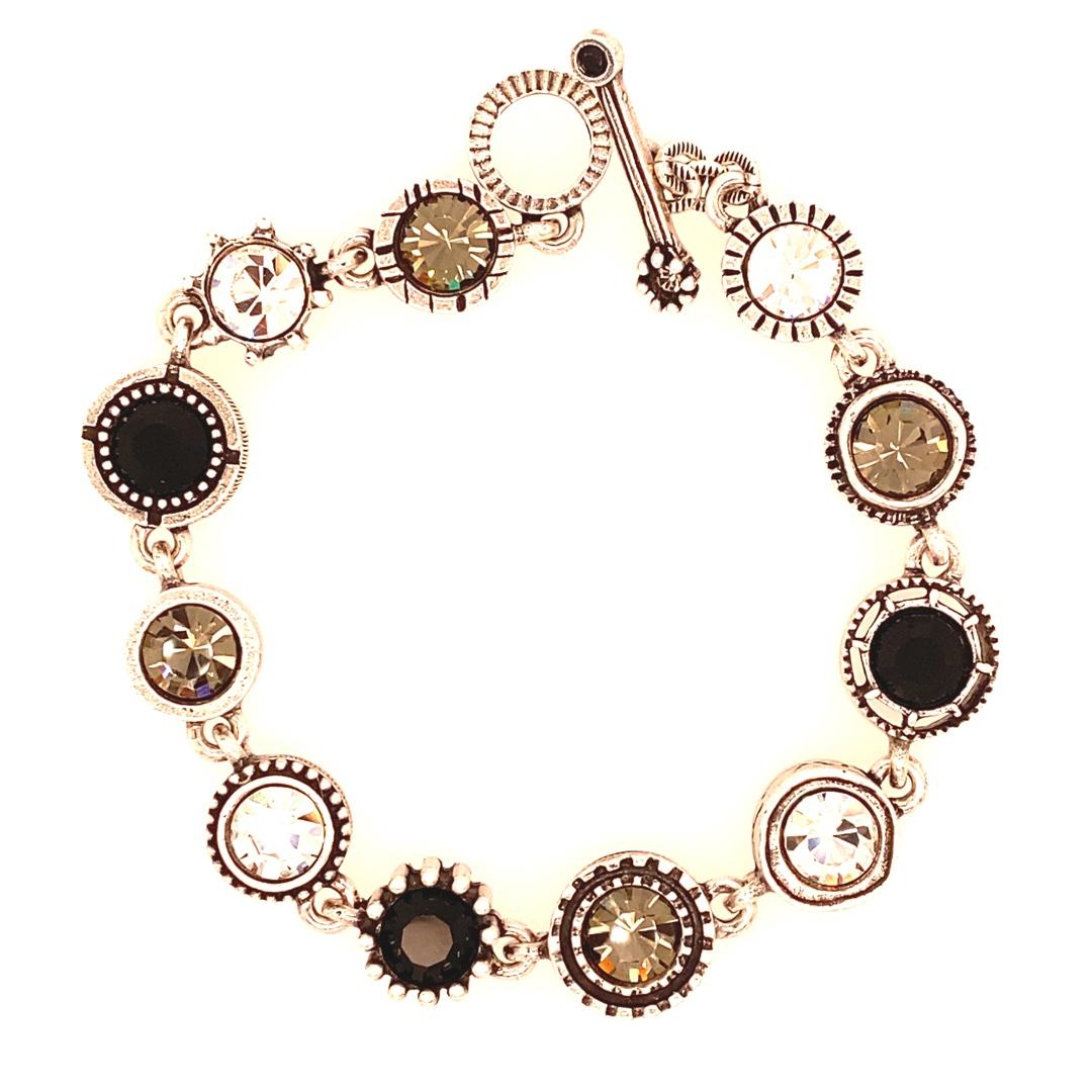 Round Two Bracelet in Silver, Black & White