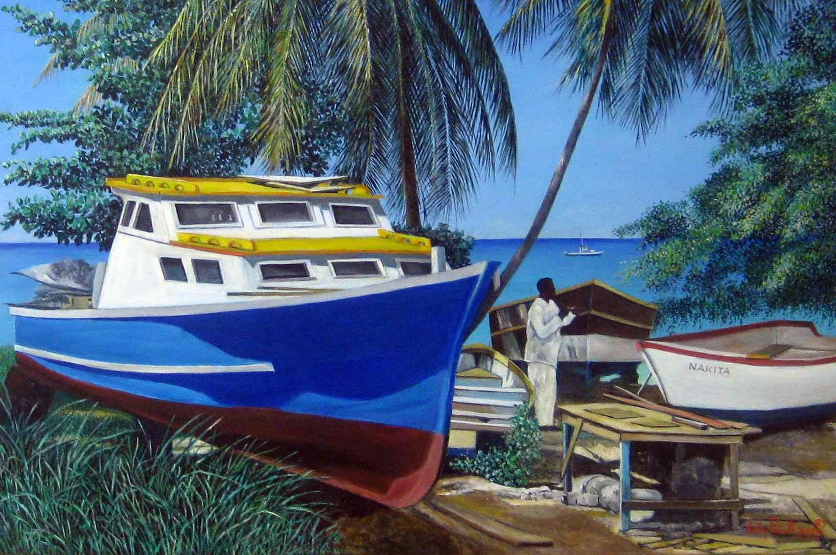Repairing Boats at Si... by Mr. Virgil Broodhagen - Masterpiece Online