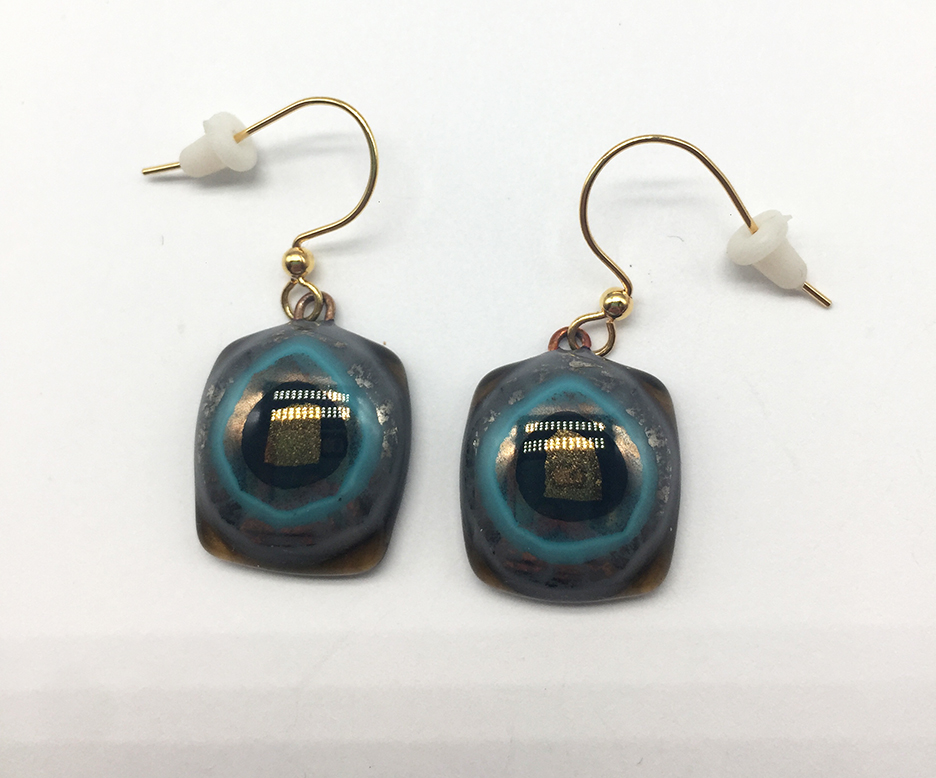 Metallic/Teal Fused Glass Earrings