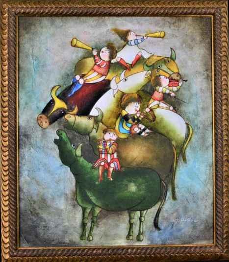 Five Musicians on Bull