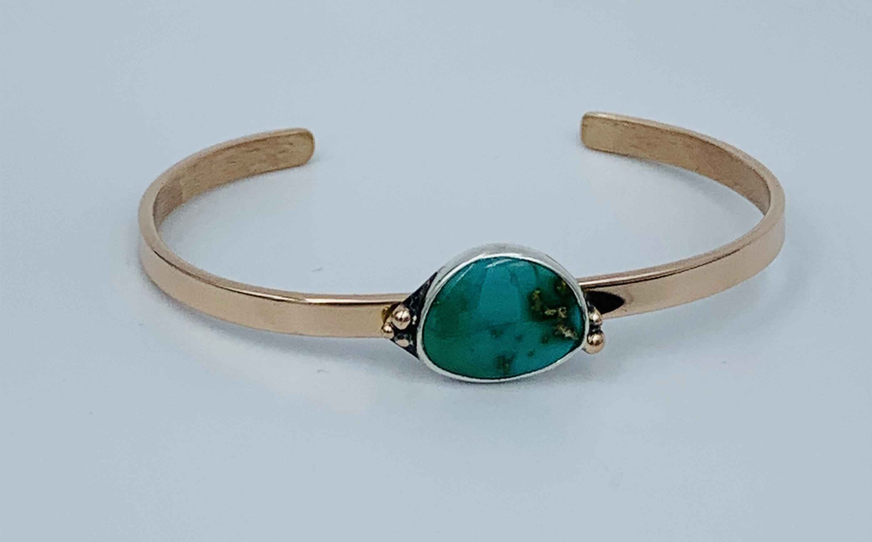 Stone Mountain Turquoise Bracelet 14kt rose gold, Sterling Silver and Turquoise 12mm x 59mm