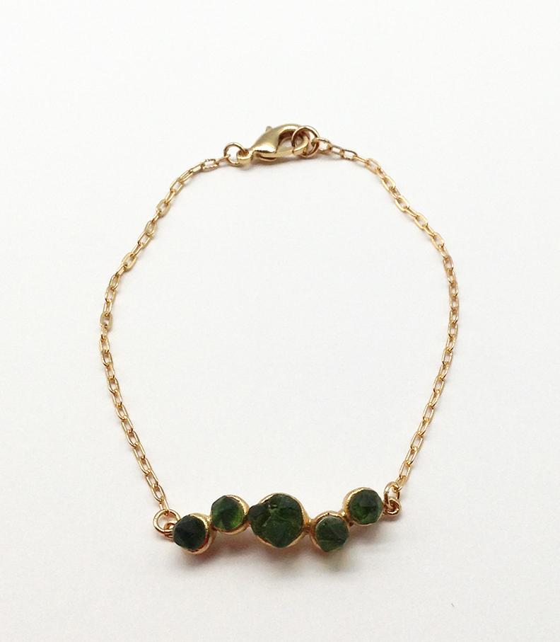 Crystal Bracelet, Bronze and Cast Glass, 7 1/2