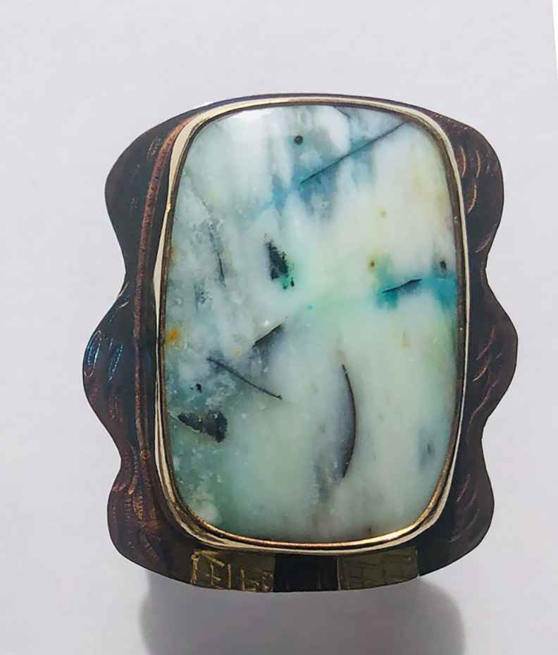 Sterling, 22k and Blue Opal Displaced Petrified Wood Ring - Size 7 3/4