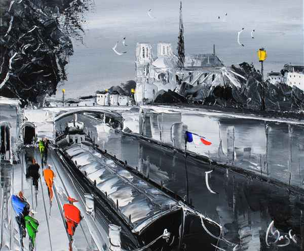 Along the Seine represented by  by  Louis  Magre