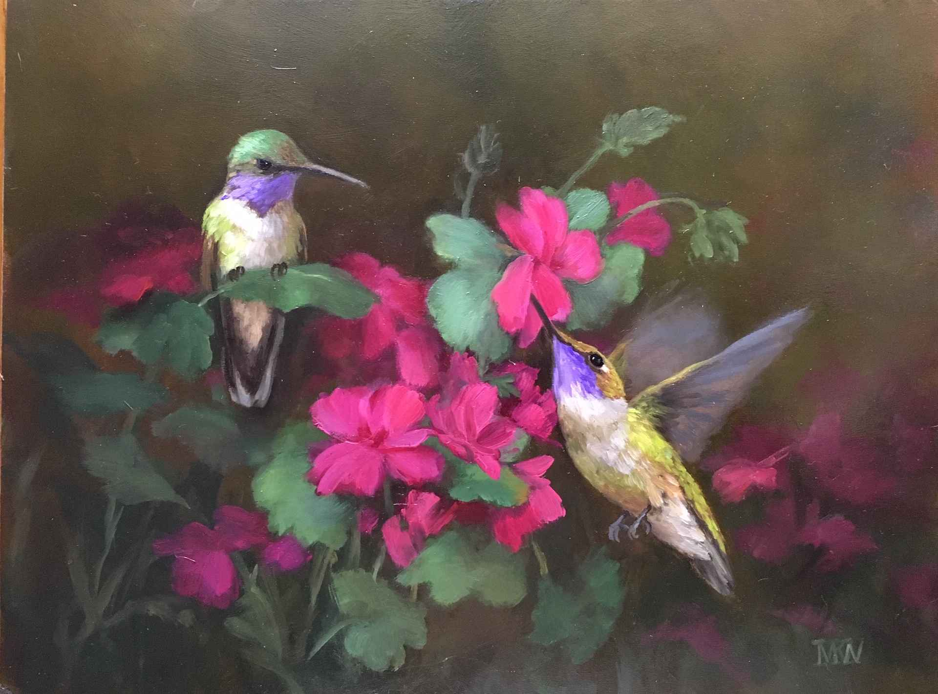 Fuchsia and Hummingbi... by  Mary Kay  West  - Masterpiece Online