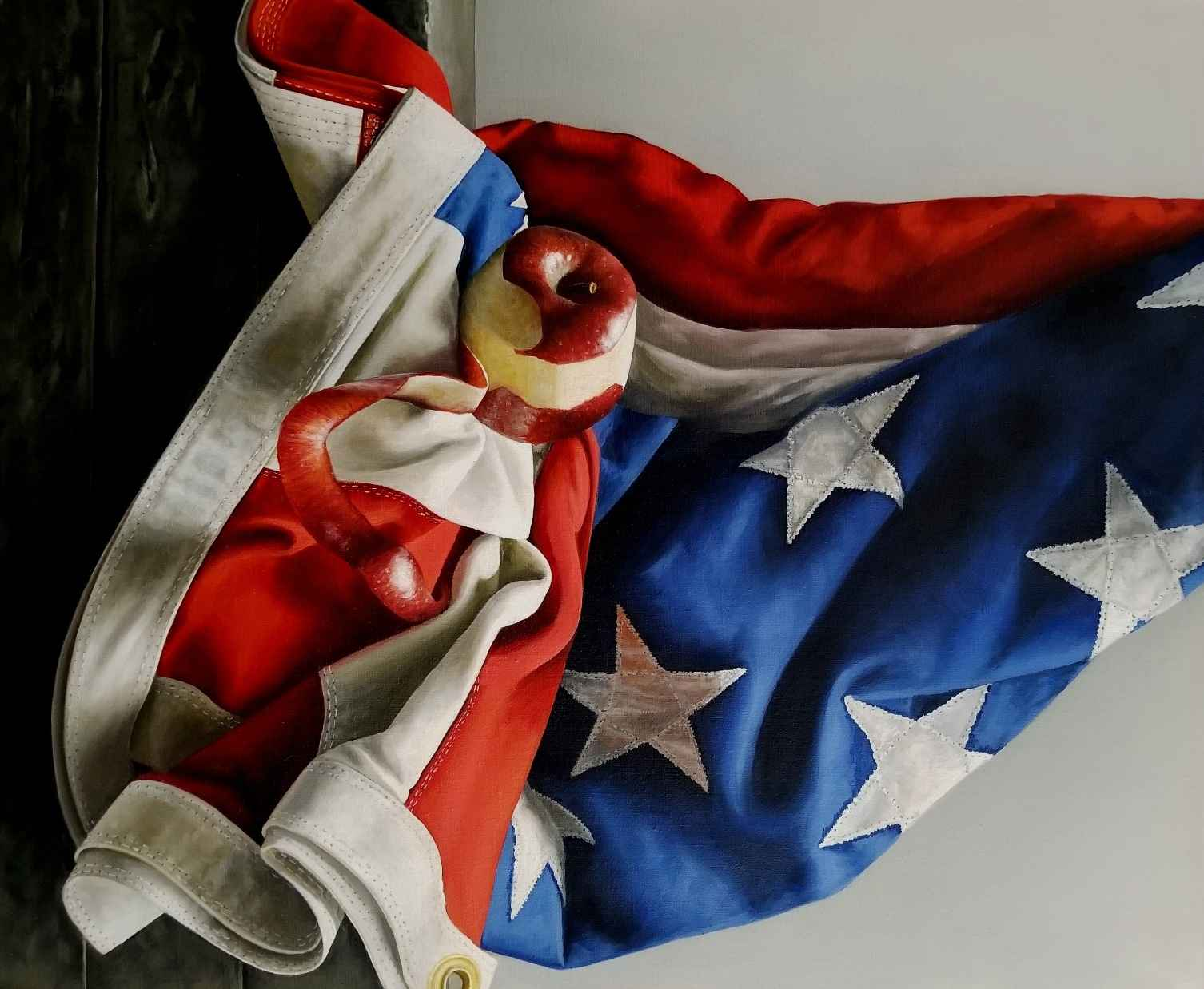 Apple and Flag by  Loren DiBenedetto - Masterpiece Online