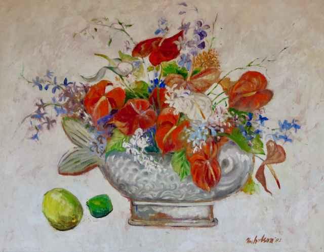 Anthurium Floral Arra... by  Emrich Nicholson (1913-2001) - Masterpiece Online